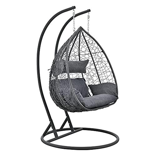 [en.casa] Hängesessel Capileira 2-Sitzer Outdoor Hängestuhl mit Gestell und Kissen Hängekorb bis 250 kg Dunkelgrau