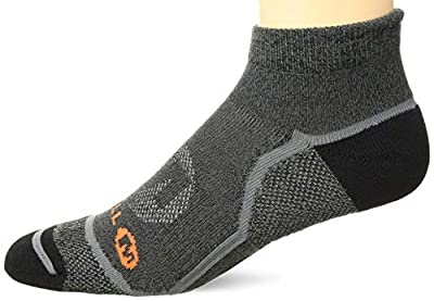 Merrell Men's 1 Pack Cushioned Trail Glove Runner Socks (Low/Quarter/Crew Cut), Black Marl (Low), Shoe Size: 12.5-15