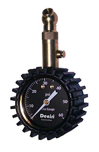 Deniri Heavy Duty Tire Pressure Gauge – 0-60 PSI, Cars, Trucks, Motorcycles, RV's ATV's, Lawn Tractors, Bicycles, etc. - Certified ANSI B40.1 Accurate. Equipped with Built-in Air Bleeder , Solid Brass