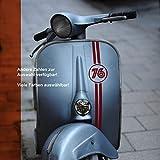 Aufkleber Banderole Startnummer Zahl für Vespa Lambretta Roller retro, Wunschzahl -größe; oval...