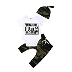 "Material: 100% Cotton, soft and comfy, ""Straight outta mommy"" letters printed onesie Package including: 1x Bodysuit+1x Leggings+1x Hat Commemorate the arrival of your newest bundle with this outfits set! Your little man will get lots of compliments w..."
