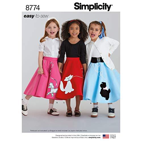 Simplicity 8774 Schnittmuster für Rockabilly-Röcke, 1950er-Jahre, Vintage-Stil, Größen 7–14