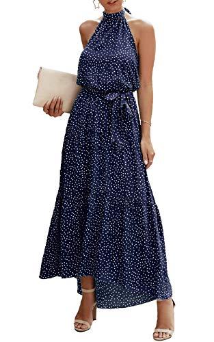 PRETTYGARDEN Women's Casual Halter Neck Sleeveless Floral Long Maxi Dress Backless Loose Ruffle Sundress with Belt Navy