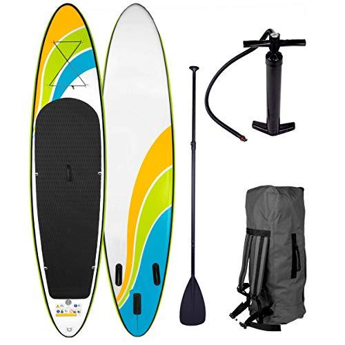 SUP Board Stand up Paddle Paddling Happiness 320x76x15cm aufblasbar Alu-Paddel Hochdruck-Pumpe Rucksack Kick-Pad bis 150KG gewebtes Drop Stitch