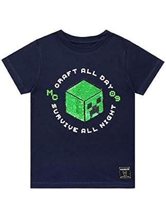 Minecraft Camiseta de Manga Corta para niños Creeper Azul 4-5 Años
