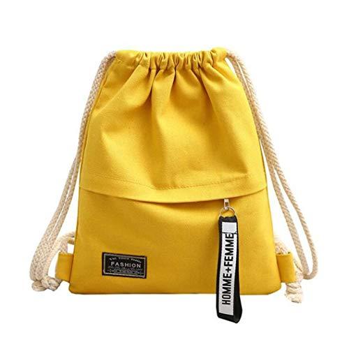 YHFJB Mochila de lona con cordón, para adolescentes, para la escuela, accesorios al aire libre, color amarillo