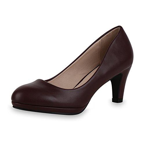 SCARPE VITA Damen Klassische Pumps Stilettos Leder-Optik Elegante Schuhe 164964 Dunkelrot 38