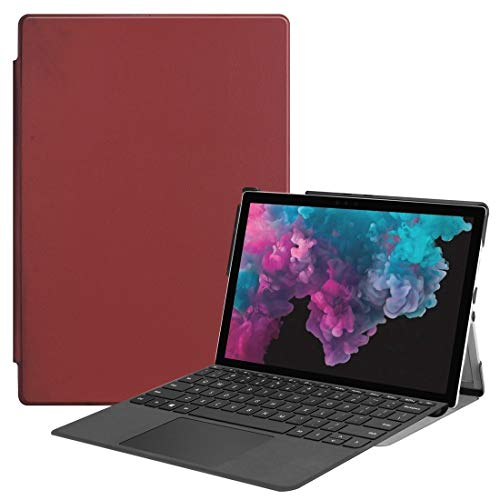 QGT Tablet Case Custer Texture Horizontal Flip PU Leather Case for Microsoft Surface Pro 4/5 / 6 12.3 inch, with Holder & Pen Slot(Black) (Color : Wine Red)