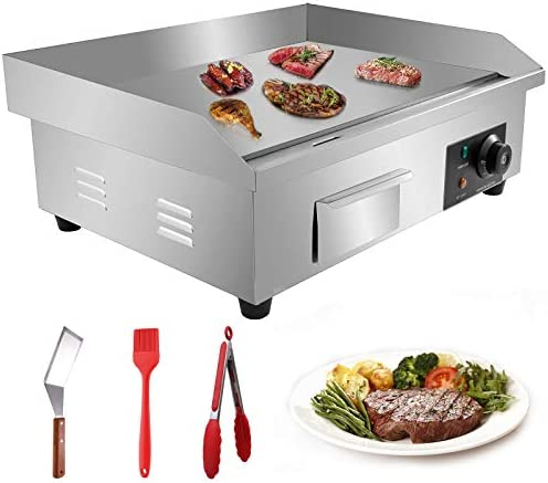 Aliyaduo 110V 3000W 22 Commercial Electric Countertop Griddle Flat Top Grill Hot Plate BBQ Adjustable product image