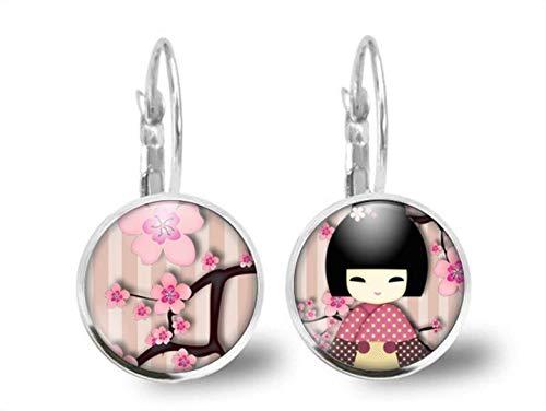 Pendientes cabochon -'kokeshi rosa' - Regalo de Navidad para regalo esposa - San Valentín - regalo de cumpleaños - plata antigua (ref.38a)