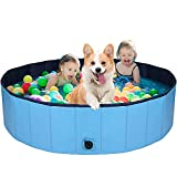 AJKMEI Piscina Perros Grande, Bañeras para Perros, PVC Antideslizante Bañera Plegable para Mascotas, Azul (XL:160cmx30cm)