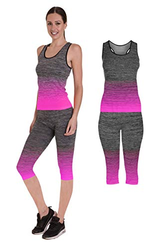 Bonjour - Abbigliamento sportivo da donna/canotta e leggings (set da 2 pezzi, top e leggings), set da palestra o per yoga, elasticizzato, Yellow Vest Top, One Size ( UK 8 - 14 )