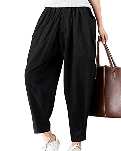 Pantalones De Verano Damas Ligero Cómodo Anchas Pantalones De Tiempo Libre Color Sólido Elastische Taille Pantalon Lino Pantalones Harem Basicas Pantalones De Tela Disfraz