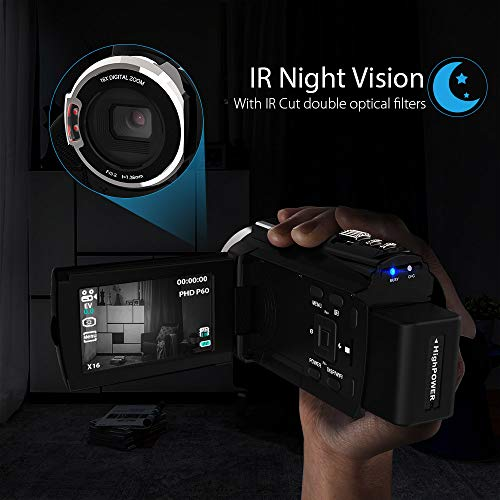 Andoer Videokamera, Camcorder 4K 1080P IR Infrarot Nachtsicht 48MP WiFi Digital Videokamera Recorder mit Novatek Master 96660 3 Zoll kapazitiver Touchscreen und Mikrofon