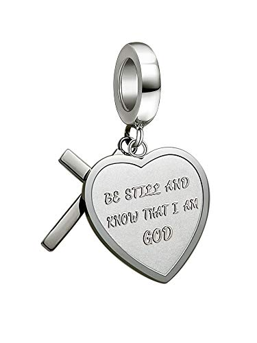 AMATOLOVE Be Still and Konw That I Am God Christian Charms for Women fits European Bracelets