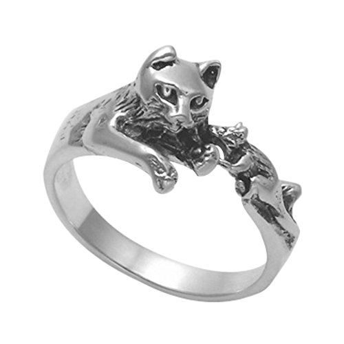 Wildthings Ltd Sterling Silver Cat & Mouse Ring (7)