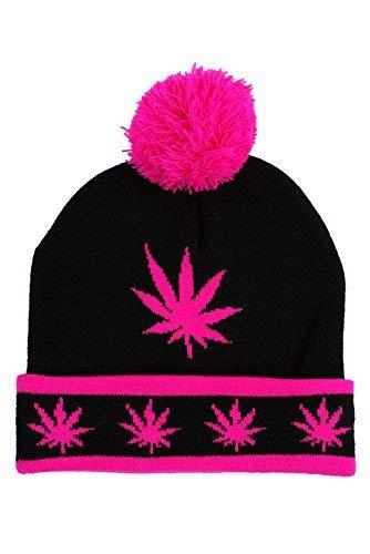 Hip Hop Caps Kush Ski Pom Pom Bonnet Casquette Noir Rose - Noir/Rose, Taille Unique