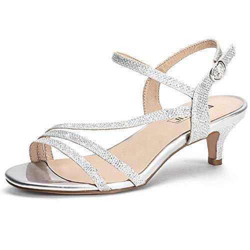 IDIFU Women's Dressy Strappy 2 Inch Low Kitten Heel Open Toe Sandals Dress Shoes for Woman Lady in Bridal Dance Evening(Silver Glitter, 9)