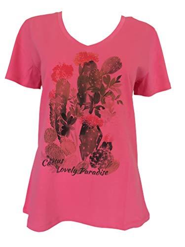 Alex(e) – Camiseta de mujer de algodón orgánico 100 % ropa de manga corta Top alta tallas grandes a la moda verano chic con estampado de cactus Lovely fucsia L