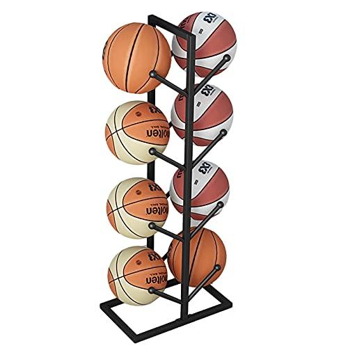 Rack Organizador de bolas de 4 capas, soporte de voleibol, soporte de fútbol, almacenamiento de baloncesto independiente, capacidad para 8, hierro negro (tamaño: 112 cm/44 pulgadas)
