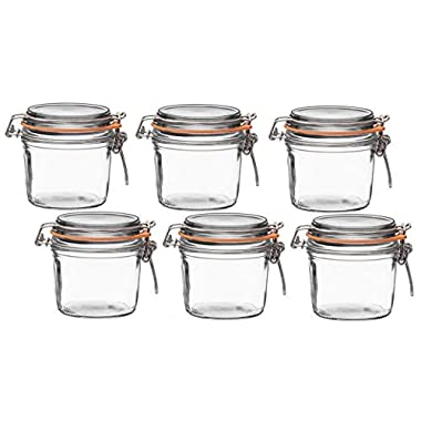 Le Parfait French Terrine Wide Mouth Glass Canning Jar with 85mm Gasket and Lid, 350 Grams (Pack of 6)
