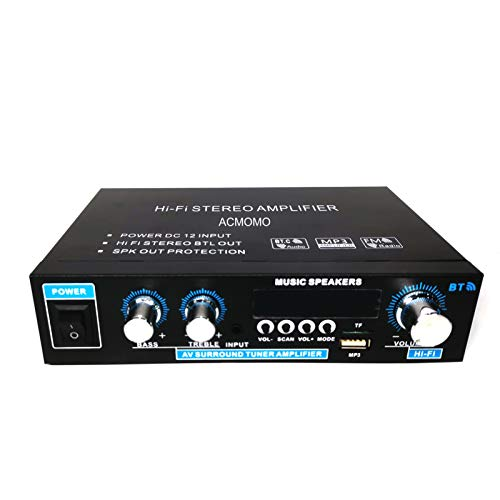 600W Mini Amplificador Audio BT, HiFi Audio Estéreo Amplificador 2CH Pantalla LCD...