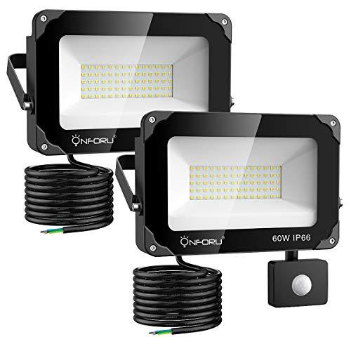 Onforu 2er 60W LED Strahler mit Bewegungsmelder 6000LM, Superhell LED Außenstrahler Fluter Flutlicht 5000K Tageslichtweiß, IP66 Wasserfest, Ideale Außenbeleuchtung für Garten, Garage, Hof ect.