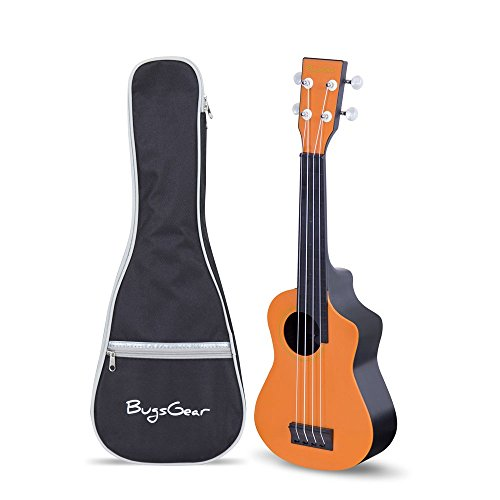 Bugs Gear Portable Outdoor Kid Friendly 18 Fret Soprano Aqulele Water Resistant Ukulele with Case, Blue/Black