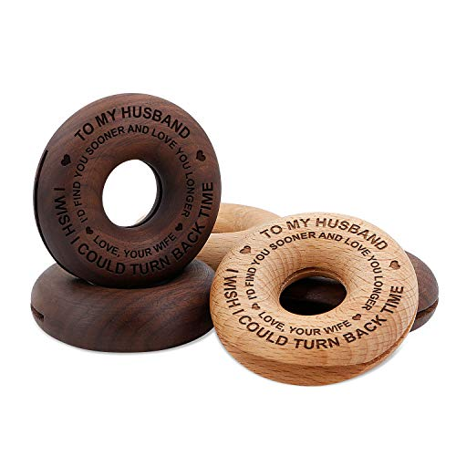 Wife To Husband Gifts - Engraved Wood Food Sealing Clip Donut, Customized 5pcs Bag Fresh-Keeping Clamp Sealer For Kitchen Home Office Pet Food - Best Anniversary Birthday Gift (For Husband From Wife)