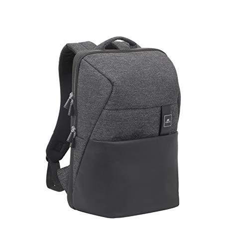 Rivacase 8861 - Mochila para portátil de viaje resistente al agua para mujeres/hombres, compatible con MacBook Pro de 15 pulgadas y tabletas de 10 pulgadas, color negro