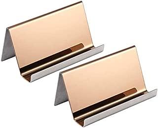 Latom 2 Pack Stainless Steel Business Cards Holders Desktop Card Display Business Card Rack Organizer (Rose Gold)