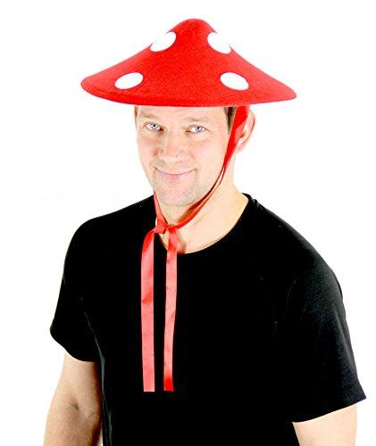 Foxxeo 35062   Fliegenpilz Hut Fliegenpilzhut Sonnenhut zum Schnüren aus Filz Glückspilz Hut gepunktet rot Weiss