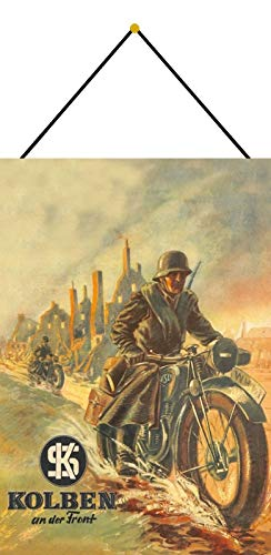 NWFS Motorrad NSU Bundeswehr Soldat Blechschild Metallschild Schild Metal Tin Sign gewölbt lackiert 20 x 30 cm mit Kordel