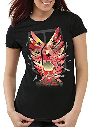 style3 Attack Wings T-Shirt Femme Bataillon d'exploration AOT Titans, Couleur:Noir, Taille:M