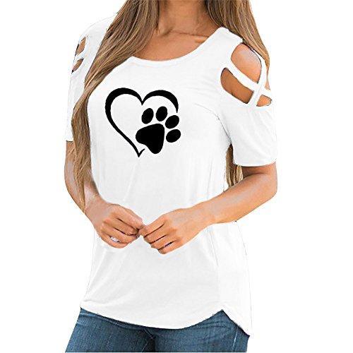 Darringls_camisetas para Mujer,Ropa de Mujer Hombro sin Tirantes Moda Camiseta Imprimirde Tops de Rayas de Manga Corta para Mujer Blusa