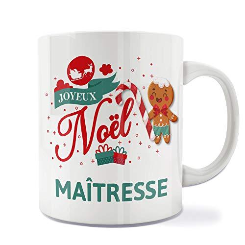 Mug | Tasse | Café | Thé | Petit-déjeuner | Vaisselle | Céramique | Original | Imprimé | Message | Fêtes | Idée cadeau | Pain d'épices - Joyeux Noël Maîtresse