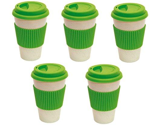 Lot de 5 tasses à café réutilisables Vert Ø 9 x 14,4 cm 400 ml 100 % biodégradables