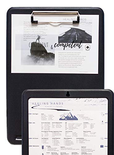 Healing Hands Nursing Clipboard with Storage in Black - Holiday Sale