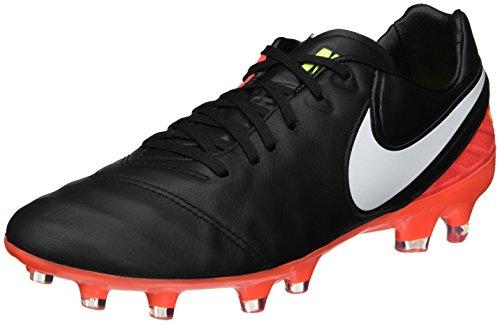 Nike Tiempo Legacy II Fg, Scarpe da Calcio Uomo, Nero Black White Hyper Orange Volt, 40.5 EU