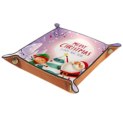 XiangHeFu Valet Tray Desk Organizer - Christmas Santa Claus Tree Snow Night - Leather Dresser Tray for Men and Women Key Jewelry Accessories