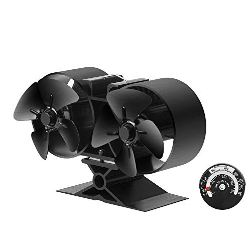 Sonyabecca Stove Fan 8 Blade Twin Motor Heat Powered Wood Stove Fans 138mm Height Fireplace Fan 31% Fuel Cost Silent for Insert Fireplace Fans