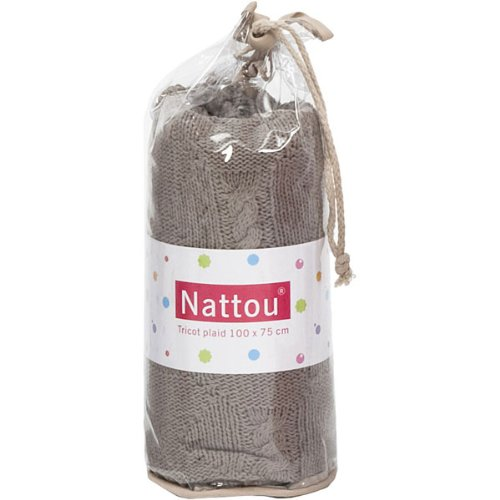 Nattou - 310024 - Couverture Tricotee - Coton - Taupe
