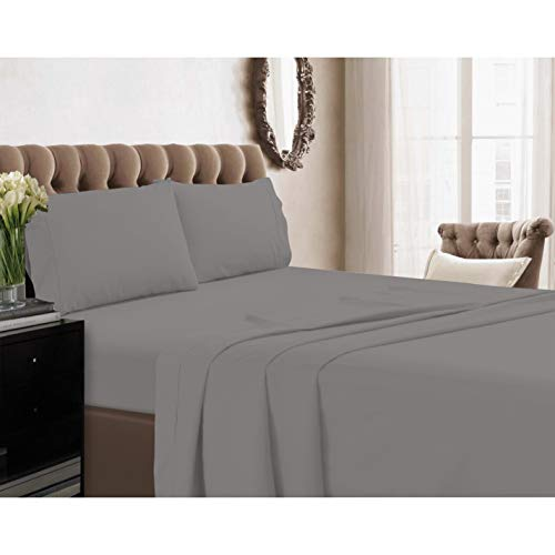 Xuvet 100% Egyptian Cotton Silver Solid King 4Pc Sheet Set, 800 Thread Count Long Staple Cotton, Sateen Weave for Soft and Silky Feel, Fits Mattress Upto 18