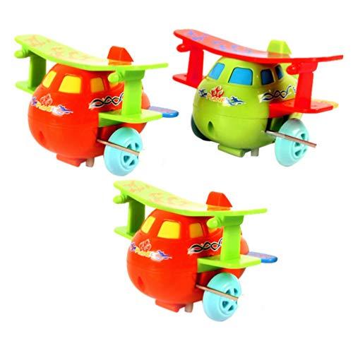 TOYANDONA 3Pcs Aufwickeln Flugzeugspielzeug Uhrwerk Spielzeug Rotierende Taumelnde Flugzeugspielzeug für Jungen Mädchen Ostern Geschenk (Zufällige Farbe)