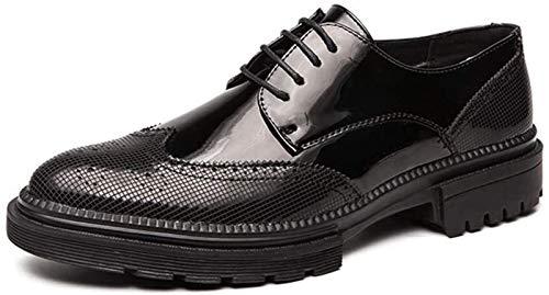 Zapatos de Hombre Mocasines De Oxford Business Casual Brogue Talla De Los Zapatos De Los Hombres Ata for Arriba Del Extremo Del Ala Patente De Cuero Y Suela Gruesa GridSplit Joint Anti Slip Zapatos De