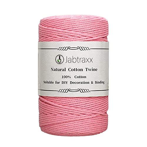 Jabtraxx Cuerda de macramé, hecha a mano, cuerda de algodón natural, cuerda de algodón suave, cordón de macramé de 3 mm para manualidades, para colgar en la pared, decorativo (rosa, 220 m)