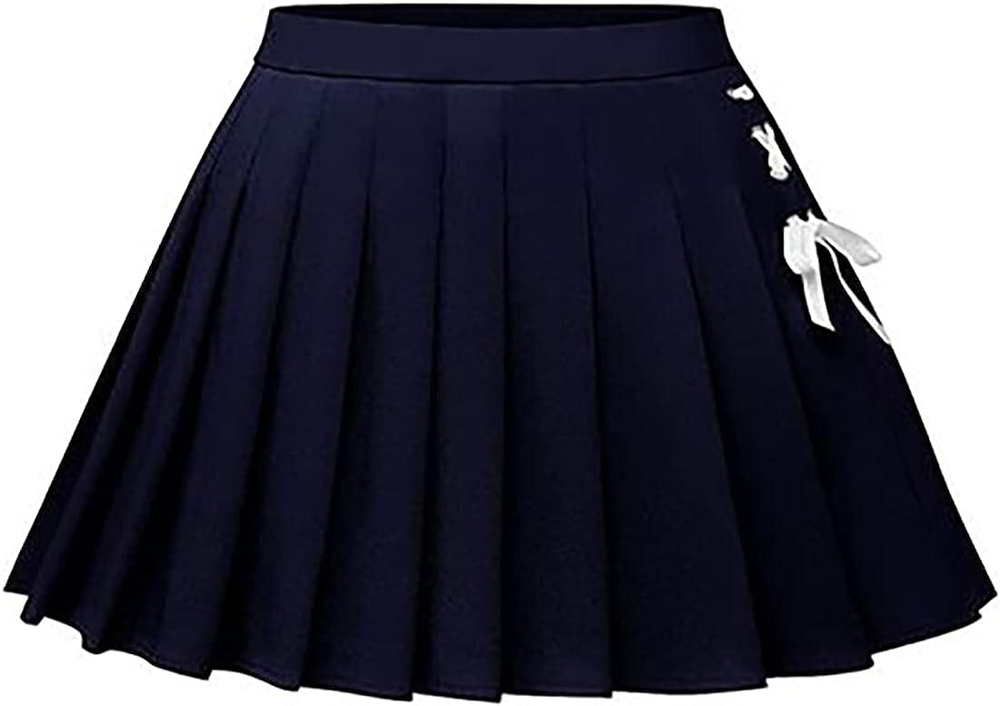 Cromoncent Women's Pleated Skirt Girls School Uniform Mini Skirts