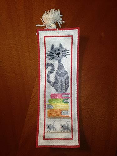 Segnalibro in feltro rosso - punto croce - cross-stitch - libri - gatto