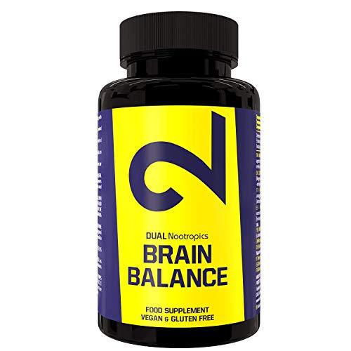 DUAL Brain Balance/Nootropics pour mémoire, concentration, clarté, concentration/Humeur, vigilance, esprit pointu, amélioration de la fonction cognitive/Nootropique / (60 capsules) / Vegan
