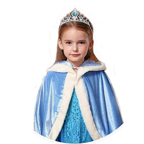 Girls Dress Up Princess Anna Fur Hooded Cape Cloaks Costume Gifts Fits Age 3-9